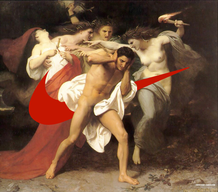 Swoosh on The Remorse of Orestes (1862) by William-Adolphe Bouguereau (1825-1905).