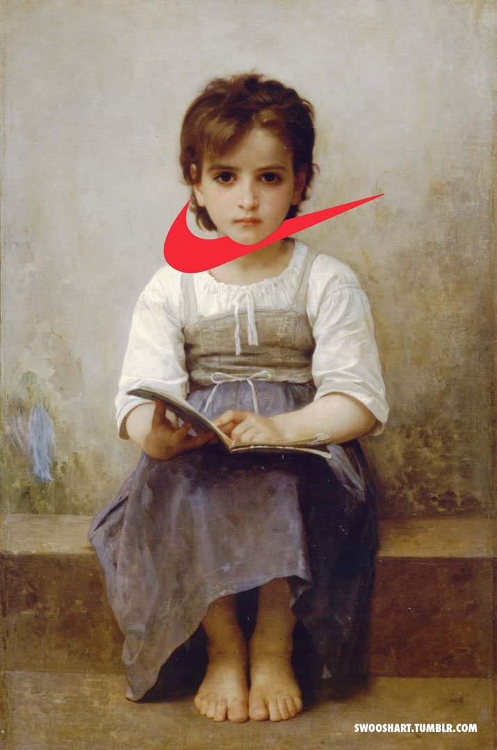 Swoosh on The hard lesson (1884) by William-Adolphe Bouguereau (1825-1905).