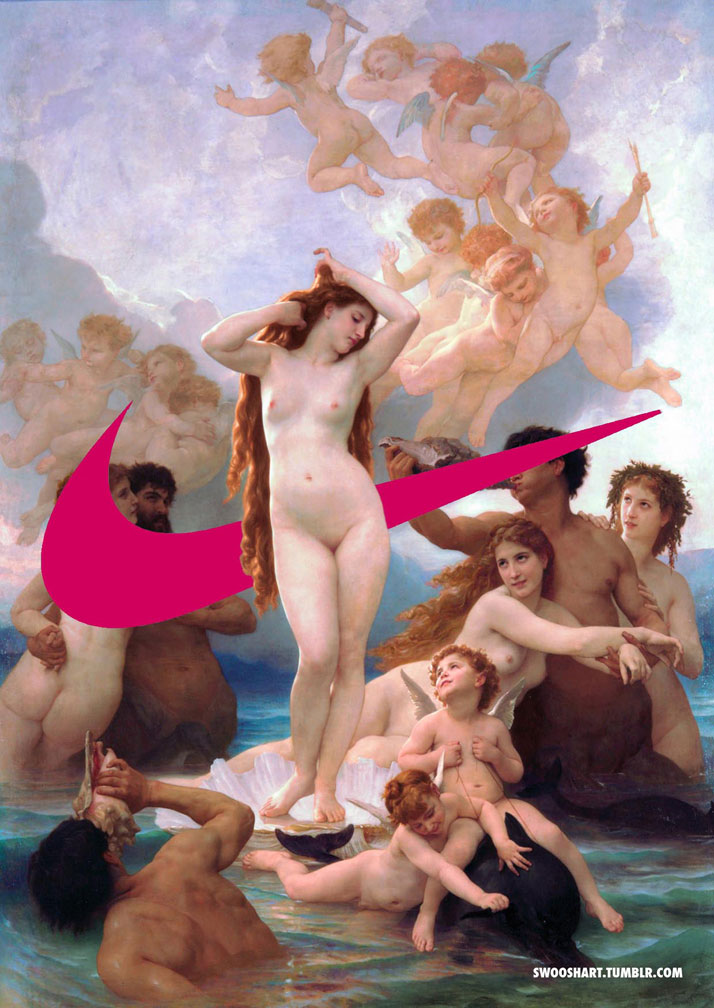 Swoosh on The Birth of Venus (1879) by William-Adolphe Bouguereau (1825-1905).
