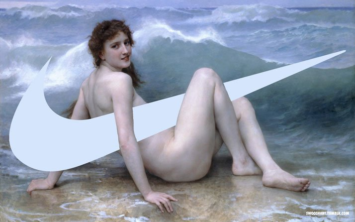 Swoosh on The Wave (1896) by William-Adolphe Bouguereau (1825-1905).