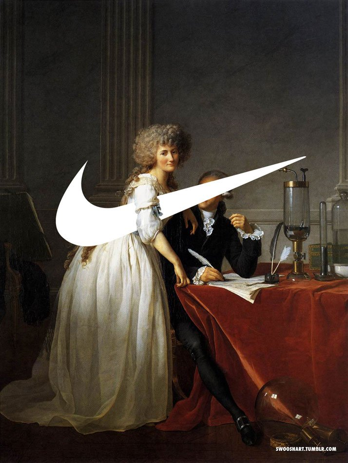 Swoosh on the Portrait of M. and Mme Lavoisier (1788) by Jacques-Louis David (1748-1825).