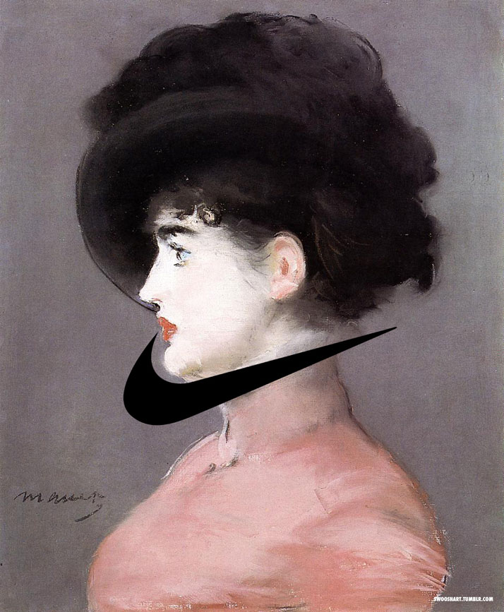 Swoosh on the Portrait of Irma Brunner (1880) by Edouard Manet (1832-1883).