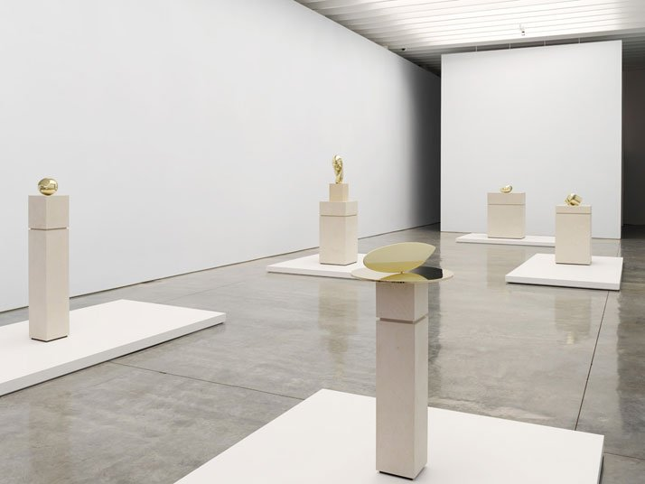 Constantin  Brancusi. From left to right: The Newborn, Mademoiselle Pogany II,  Fish, Sleeping Muse II and Head. Installation view at Paul Kasmin  Gallery during the exhibition ''Brancusi in New York 1913–2013''.  Courtesy of the Brancusi Estate and Paul Kasmin Gallery.