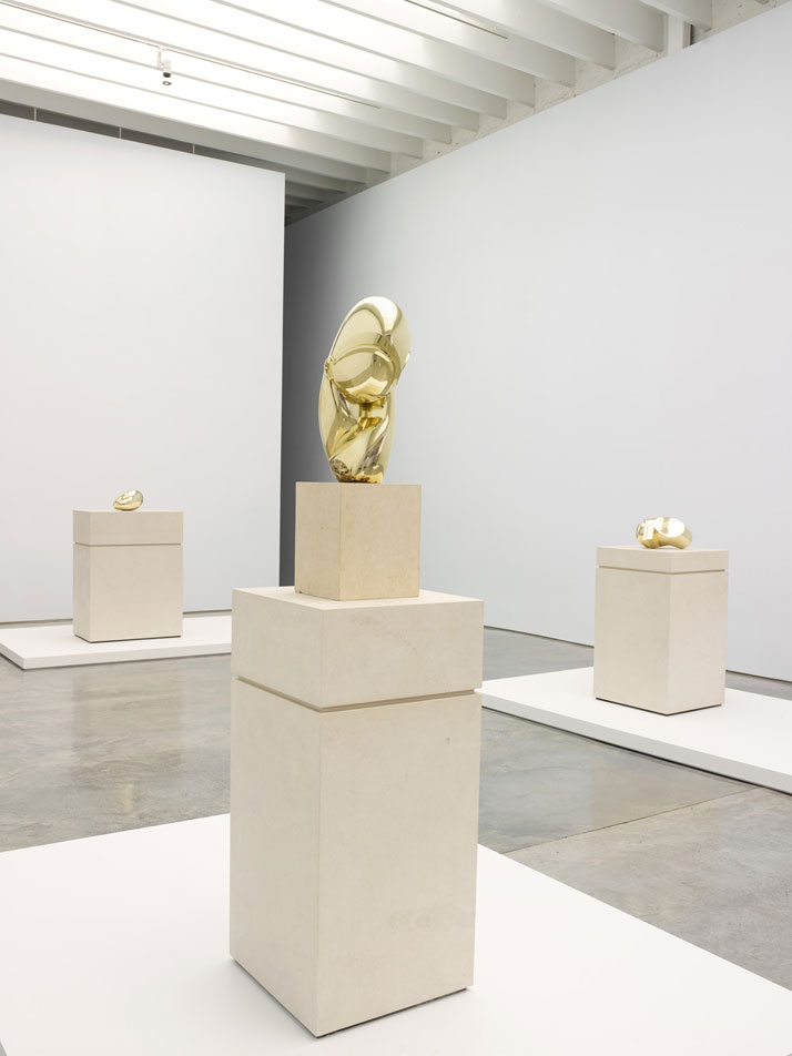 Constantin  Brancusi. From left to right: Sleeping Muse II, Mademoiselle Pogany II  and Head. Installation view at Paul Kasmin Gallery during the exhibition  ''Brancusi in New York 1913–2013''. Courtesy of the Brancusi Estate and  Paul Kasmin Gallery.