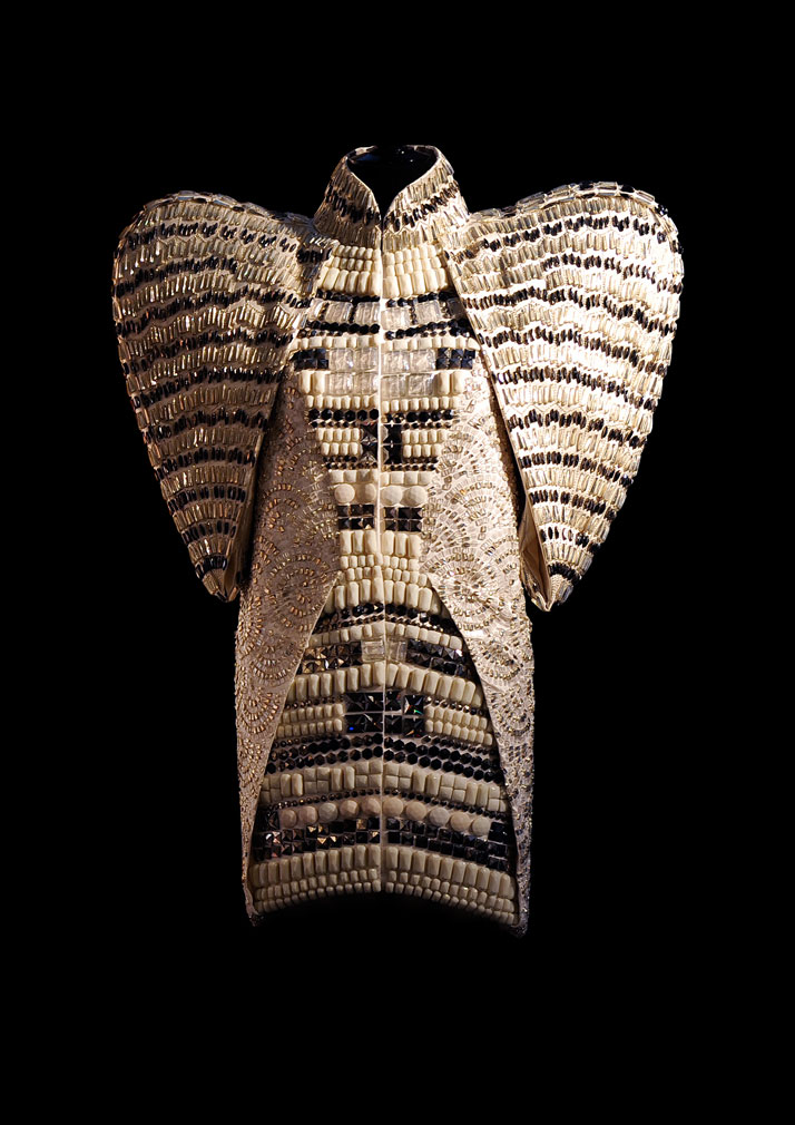 Dice Kayek, ''Hagia Sophia'' dress, 2009.White satin coat covered with complex, hand-stitched embroidery and ancient glass beads, in patterns inspired by Byzantine mosaics.photo © Dice Kayek Archive.