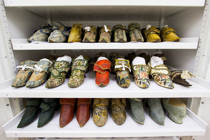 A selection of shoes in The Clothworkers' Centre for Textile and Fashion Study and Conservationphoto © Victoria and Albert Museum, London.