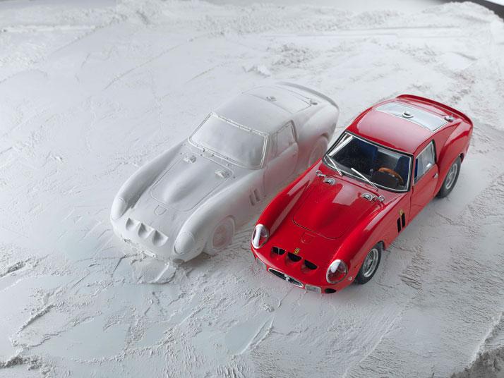 Gypsum shell of the Ferrari 250 GTO (1962); Hatch series (making of), photo © Fabian Oefner.