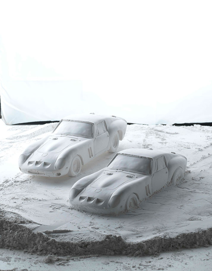 Gypsum shell of the Ferrari 250 GTO (1962); Hatch series (making of),  photo © Fabian Oefner.