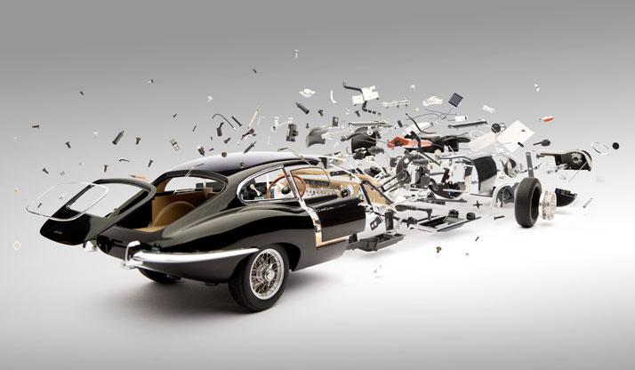 Black Jaguar E-Type (1961); Disintegrating 03, photo © Fabian Oefner.