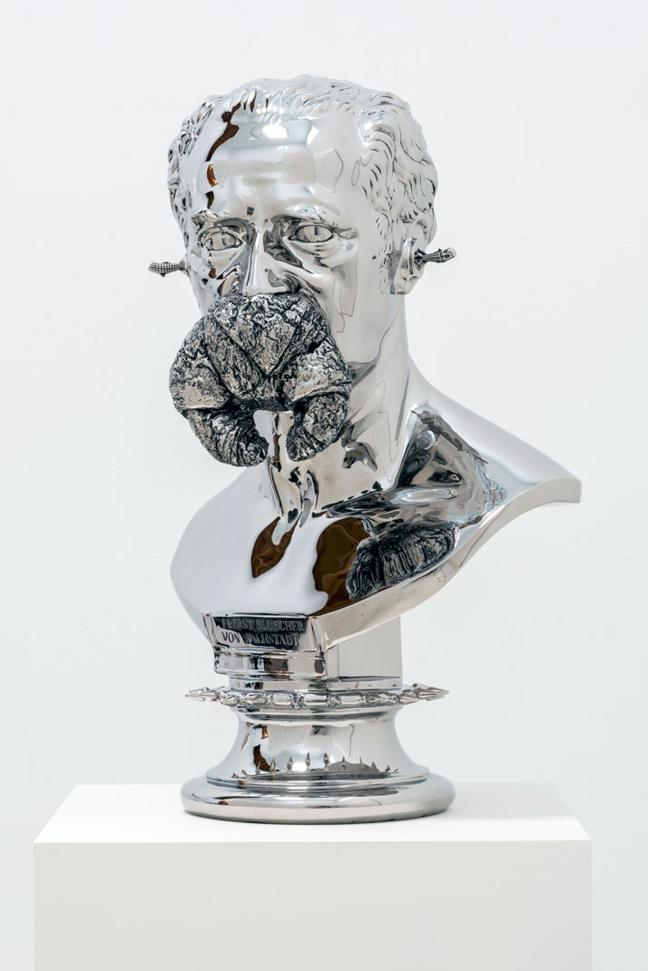Joel Morrison, Well Bred, 2013 Stainless steel , 66 x 35,6 x 30,5 cm.Courtesy of the artist and Almine Rech Gallery.