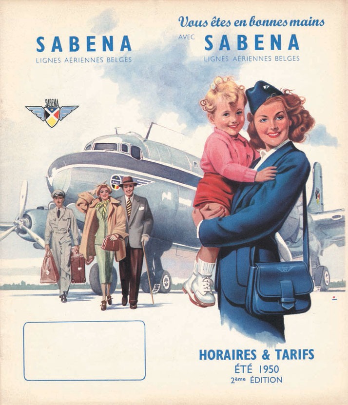 Belgium's national carrier promotes a caring message and announces that, 'You are in good hands with Sabena,' 1950.Airline: Style at 30,000 Feet (mini edition). Courtesy of Laurence King Publishing.