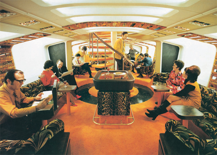 The  Boeing 747 first-class 'Tiger Lounge' bar. Built as a mock-up in 1972  for a Boeing product-development study, the lounge for first- and  business-class passengers was to be situated in the hold with a vertical  viewing port in the central table.Airline: Style at 30,000 Feet (mini edition). Courtesy of Laurence King Publishing.