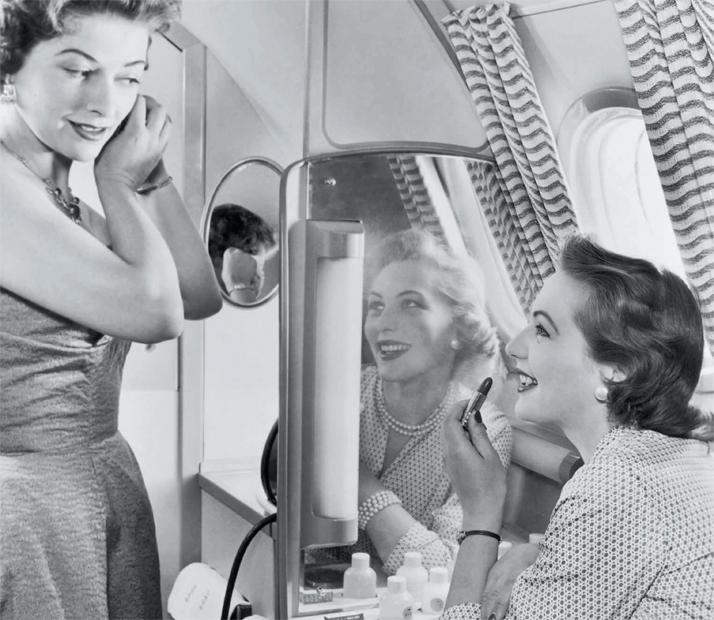 Image result for ladies powder room flights 1950s
