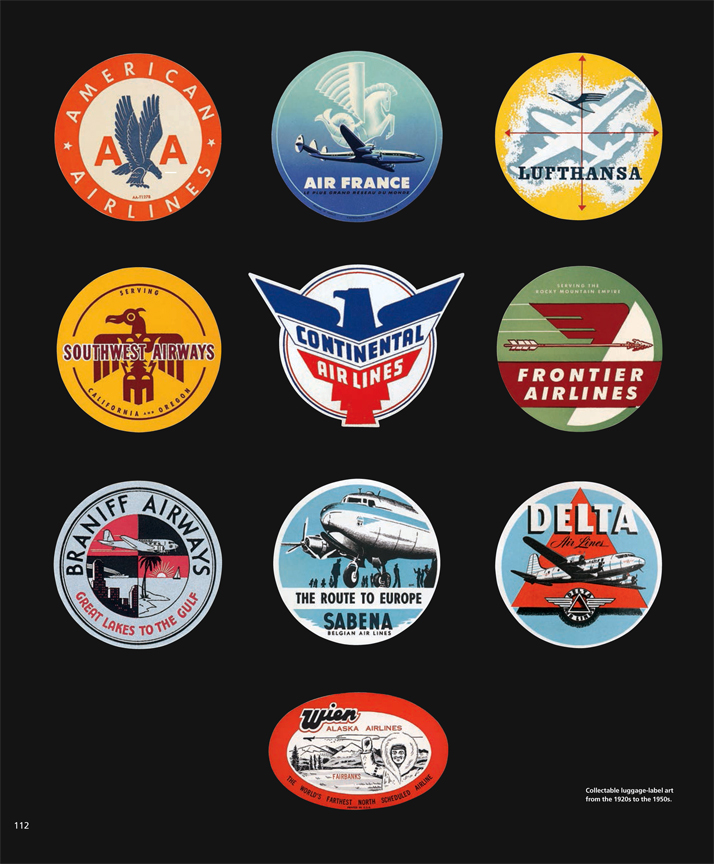 Collectable luggage-label art from the 1920s to the 1950s.Airline: Style at 30,000 Feet (mini edition). Courtesy of Laurence King Publishing.