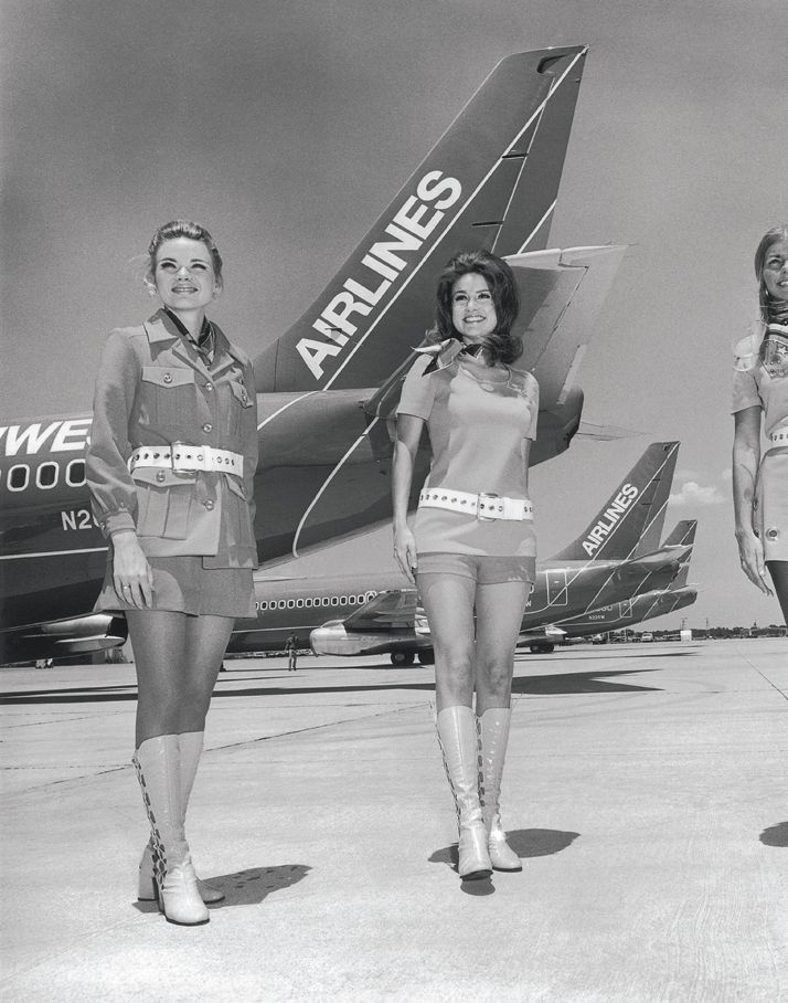 According to a spokesman at Southwest Airlines of Texas in 1973, when stewardesses were interviewed for jobs, he started with their legs and worked up to their faces.Airline: Style at 30,000 Feet (mini edition). Courtesy of Laurence King Publishing.