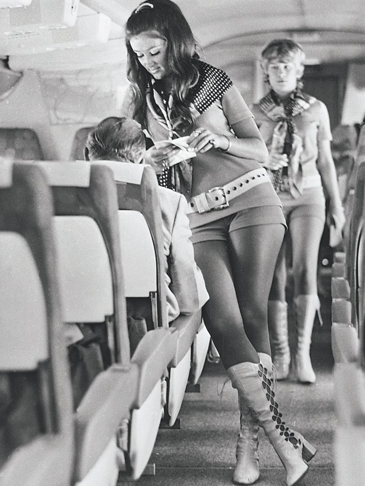 In stark contrast to the propriety (often to the point of prudishness) shown by most airlines to that date, in 1973 Southwest Airlines threw caution to the winds with its stewardess uniform. 'The girls must be able to wear kinky leather boots and hot pants or they don't get the job,' said the airline's male bosses.Airline: Style at 30,000 Feet (mini edition). Courtesy of Laurence King Publishing.
