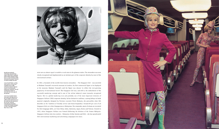 Right: 'Braniff Babes', as they were known, are seen here modelling Pucci's 1966 uniforms on board a full-size model of the Boeing SST (supersonic transport). The SST was Boeing's answer to Concorde, but never got off the ground. Left: Pucci's bubble helmet was used in the days prior to the air bridge to protect the coiffure from wind and rain on the walk from the terminal to the aircraft. A Braniff International stewardess models the Plexiglas headgear at John F. Kennedy Airport, New York, in 1965.Airline: Style at 30,000 Feet (mini edition). Courtesy of Laurence King Publishing.