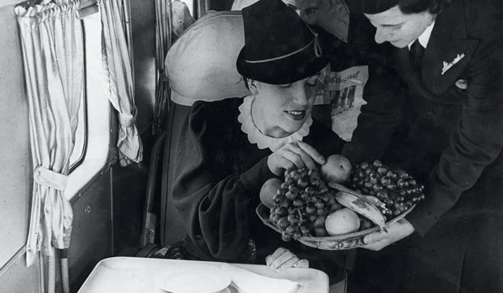 Healthy vittles served by KLM (Royal Dutch Airlines), 1920s.Airline: Style at 30,000 Feet (mini edition). Courtesy of Laurence King Publishing.