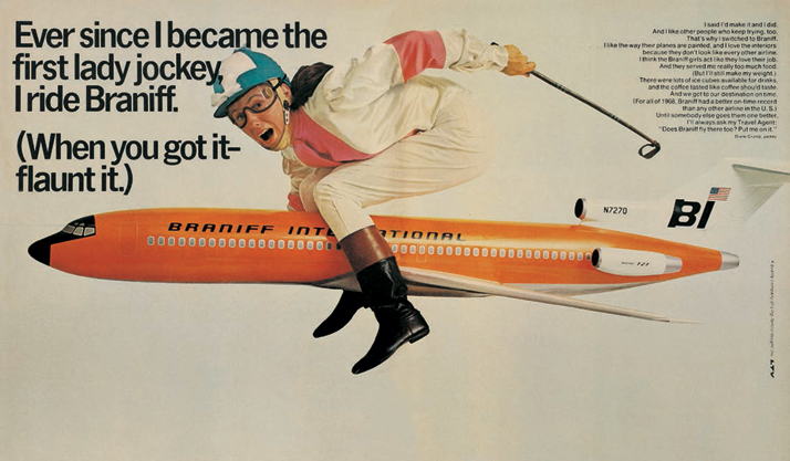 Magazine advertisement for Braniff International, 1969.Airline: Style at 30,000 Feet (mini edition). Courtesy of Laurence King Publishing.