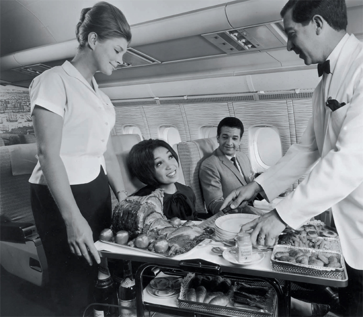Sunday roast every day of the week: first class BOAC VC10, 1964.Airline: Style at 30,000 Feet (mini edition). Courtesy of Laurence King Publishing.