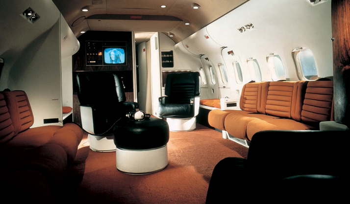 The interior of the private DC-9 as decked out for Playboy's chief, Hugh Hefner.Airline: Style at 30,000 Feet (mini edition). Courtesy of Laurence King Publishing.