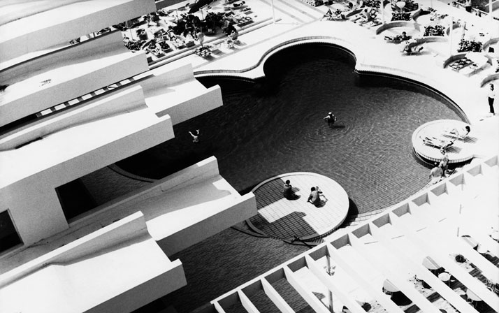 Haludovo  Resort, Malinska, Krk Island. Architect: Boris Magaš, 1971-72.The pool  in front of the Hotel Palace at the heart of the resort upon  completion. Photo by Boris Magaš, 1972. Photo © CCN Images, Zagreb.