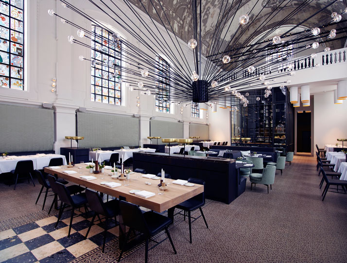The Jane Restaurant Church Restaurant Dinning room chandelier  At 'The Jane' Restaurant, food is religion, by Piet Boon Studio k1 Piet Boon The Jane Restaurant Antwerp yatzer