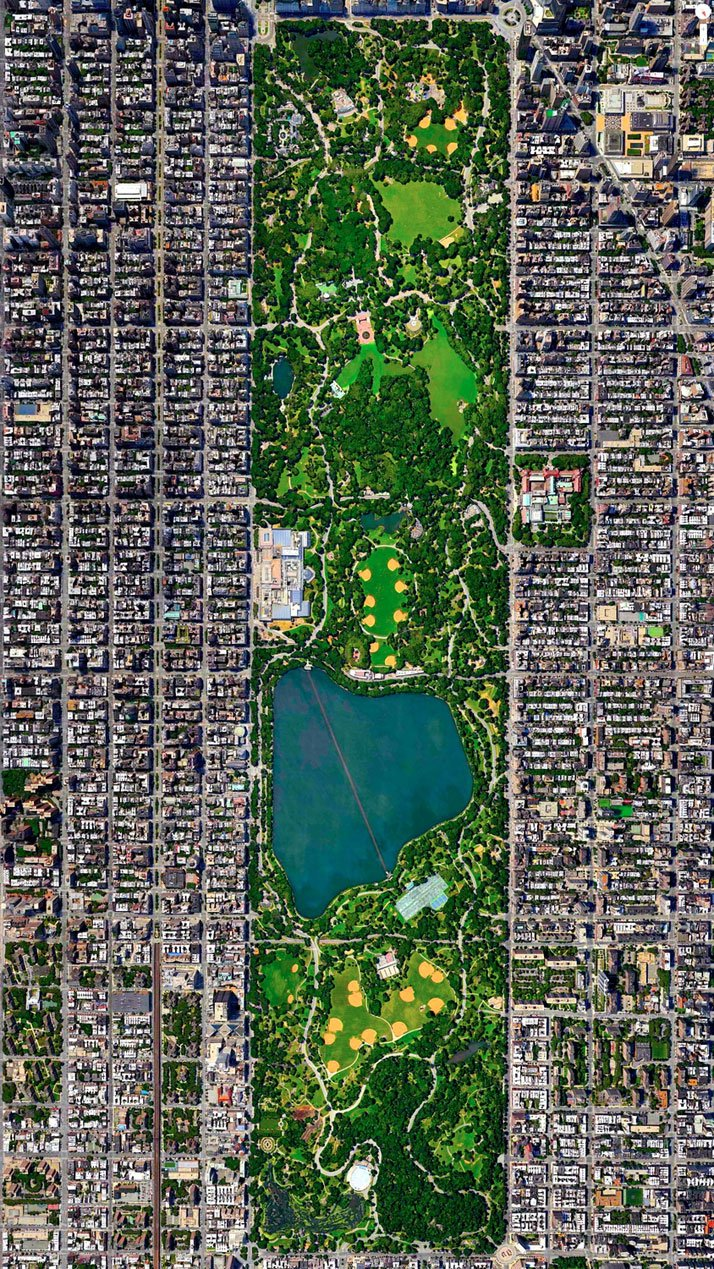 Central Park, New York City, New York, USA.Overview captured with Apple Maps. Satellite imagery from Digital Globe.Copyright 2014, Daily Overview.