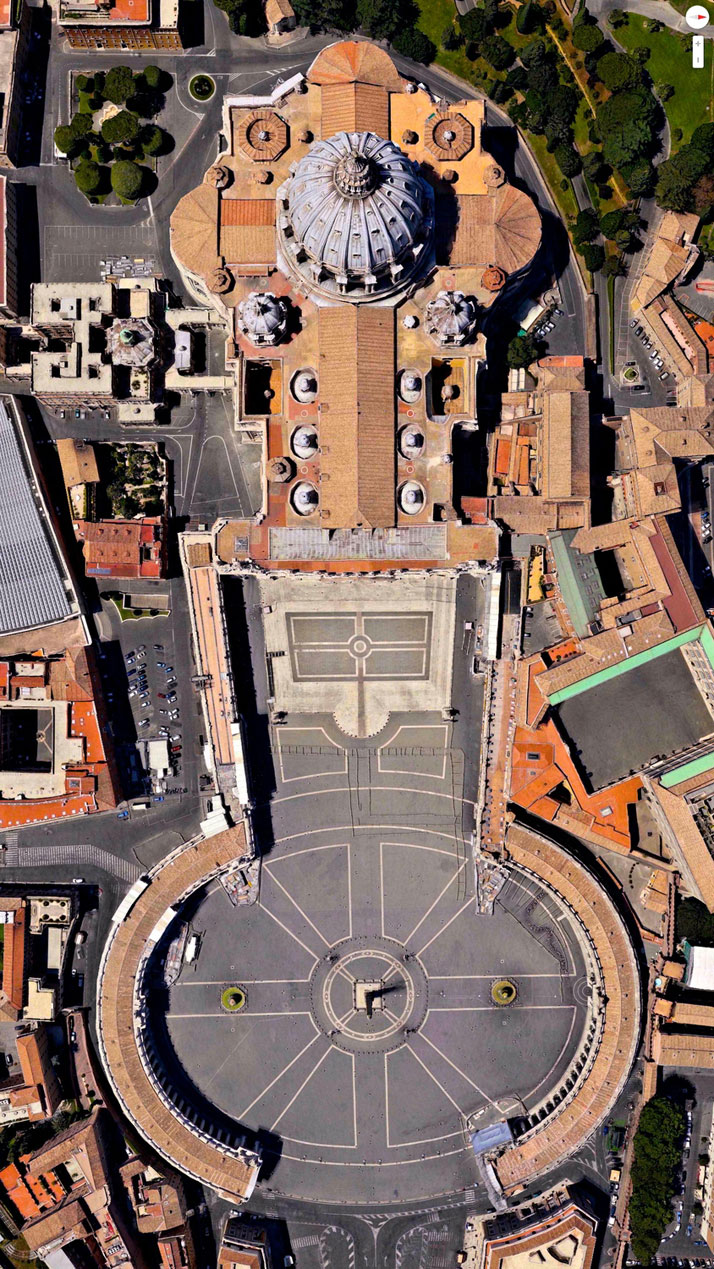 Easter Sunday, St. Peter's Basilica, Vatican City, Italy.Overview captured with Apple Maps. Satellite imagery from Digital Globe.Copyright 2014, Daily Overview.