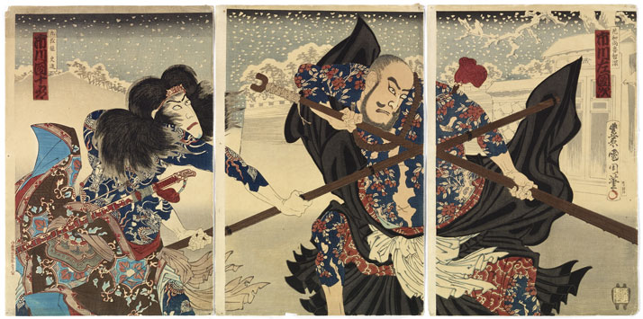 Tryptic of Japanse prints: the dual. The prints represent two Kabuki theatre actors in a dual against a winter backdrop. Realised by Toyohara Kunichika (1835-1900). The actor on the right is Ichikawa Danjurô, in the rôle of Kumonryû Shishin, a mythical figure tattooed with nine dragons. The actor on the right is Ichikawa Sadanji in the role Kaoshyôrochishin, covered in a Kaidô flower tattoo representing the family of roses. Edo and beginning of Meiji periods, year 18 of the Meiji era, Japan © Musée du quai Branly, photo: Claude Germain.