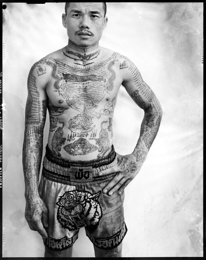 Yantra, Muay Thai boxer, Bangkok. Photography, montage on 'kapa-board', France,  2008-2011 © Photo: Cédric Arnold.
