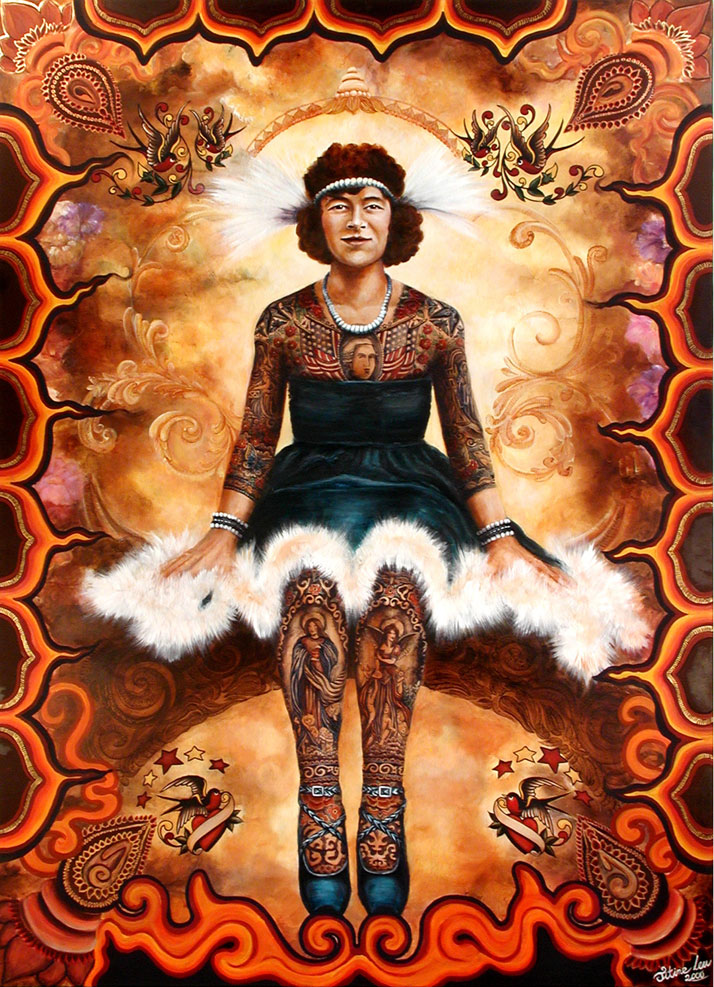 Artoria Circus Lady - Painting by Titine Leu, 2000''Artoria Circus Lady'' tattooed by her husband R. Gibbons, 1921-1924.