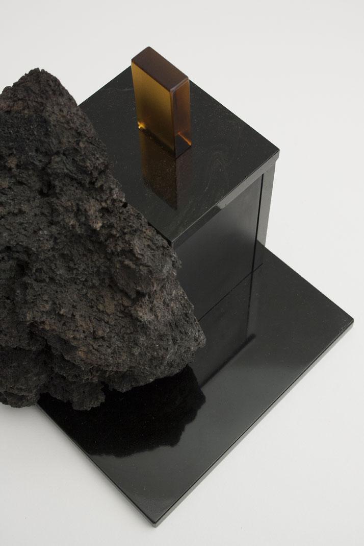 Linguaglossa, 2014Mouth blown lava, lava rock, Murano glass.H35 x W25 x D25 cm'De Natura Fossilium' by studio Formafantasma.Photo by Luisa Zanzani. Courtesy of Gallery Libby Sellers.