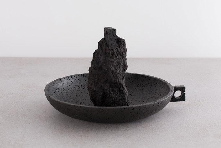 Stromboli, 2014Occhio di pernice basalt, lava rock, brass.H30 x W40 cm'De Natura Fossilium' by studio Formafantasma.Photo by Luisa Zanzani. Courtesy of Gallery Libby Sellers.