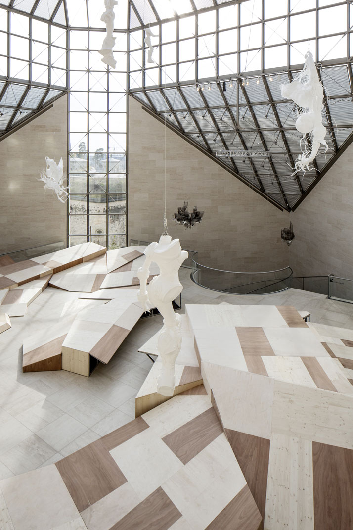 Lee Bul, Diluvium (2012), a floor installation covering a large part of Mudam's Grand Hall.Installation view at the exhibition LEE BUL, Mudam Luxembourg (5 October 2013 - 9 June 2014.photo © Eric Chenal.