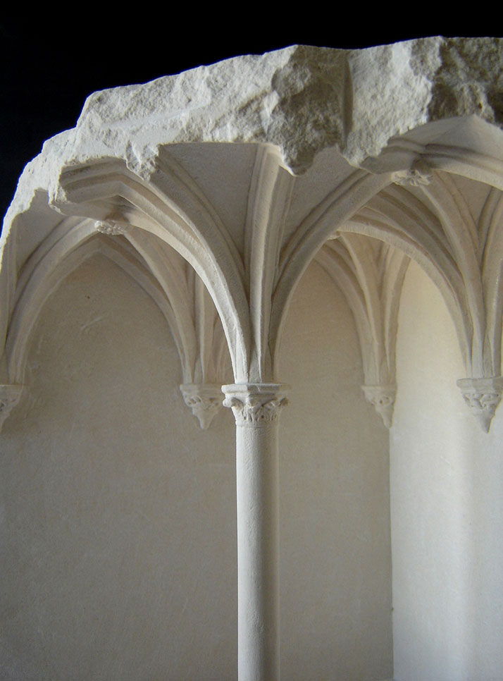 Matthew Simmonds, Vaulted Space (detail), Limestone 2008, height 39cmClient: Mastercard, Romephoto © Matthew Simmonds.