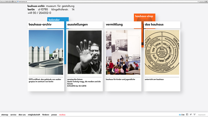 The official website of The Bauhaus-Archiv Museum für Gestaltung,  designed by L2M3. © The Bauhaus.