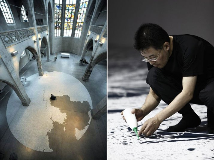 left: Motoi Yamamoto, LabyrinthsaltDiameter 12mSolo Exhibition: Salz / Kunst-Station St. Peter Cologne, GermanyApril - June, 2010right: Motoi Yamamoto, making of a saltwork, photo by Makoto Morimura.