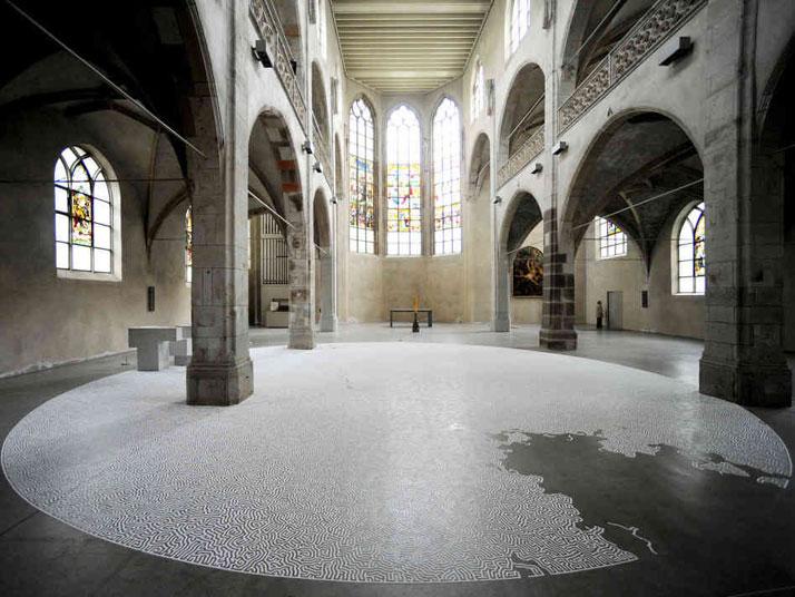 Motoi Yamamoto, LabyrinthsaltDiameter 12mSolo Exhibition: Salz / Kunst-Station St. Peter Cologne, GermanyApril - June, 2010