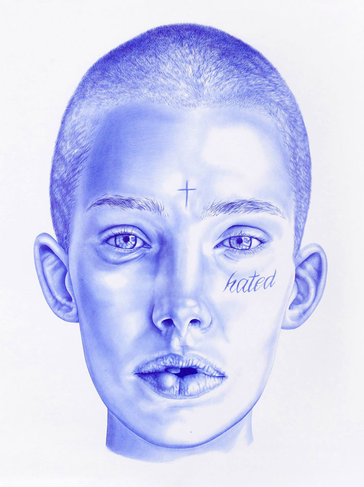 Eva, 2014Blue BIC pen on paper190 cm x 220 cmRevealed at 2014 ART PARIS Art Fair in Le Grand PalaisPrivate Collection, France ©2015 THE KID - All rights reserved. Courtesy the artist.