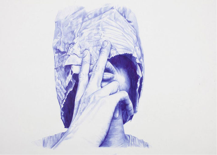 Humanity is overrated, number II, 2012Blue BIC pen on paper60 x 42 cmPrivate Collection, France ©2015 THE KID - All rights reserved. Courtesy the artist.