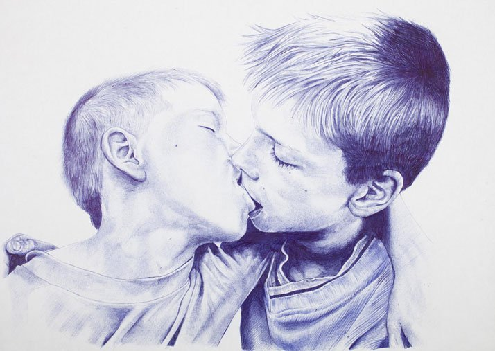 Humanity is overrated, number III, 2012Blue BIC pen on paper60 x 42 cmPrivate Collection, France ©2015 THE KID - All rights reserved. Courtesy the artist.
