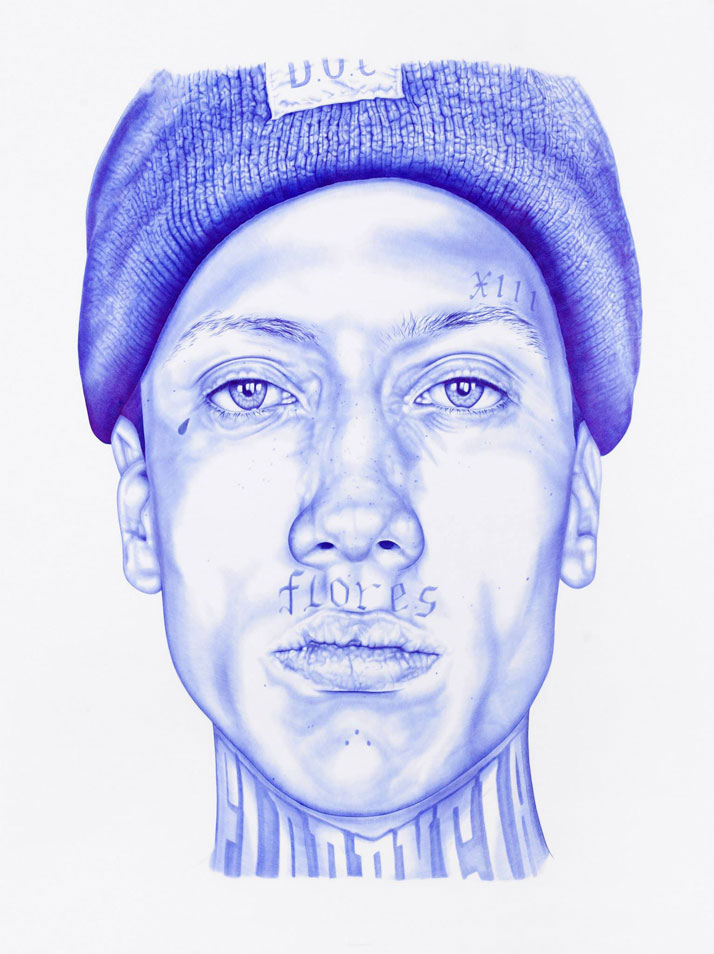 Diego, 2014Blue BIC pen on paper190 cm x 220 cmRevealed at 2014 ART PARIS Art Fair in Le Grand PalaisPrivate Collection, France ©2015 THE KID - All rights reserved. Courtesy the artist.