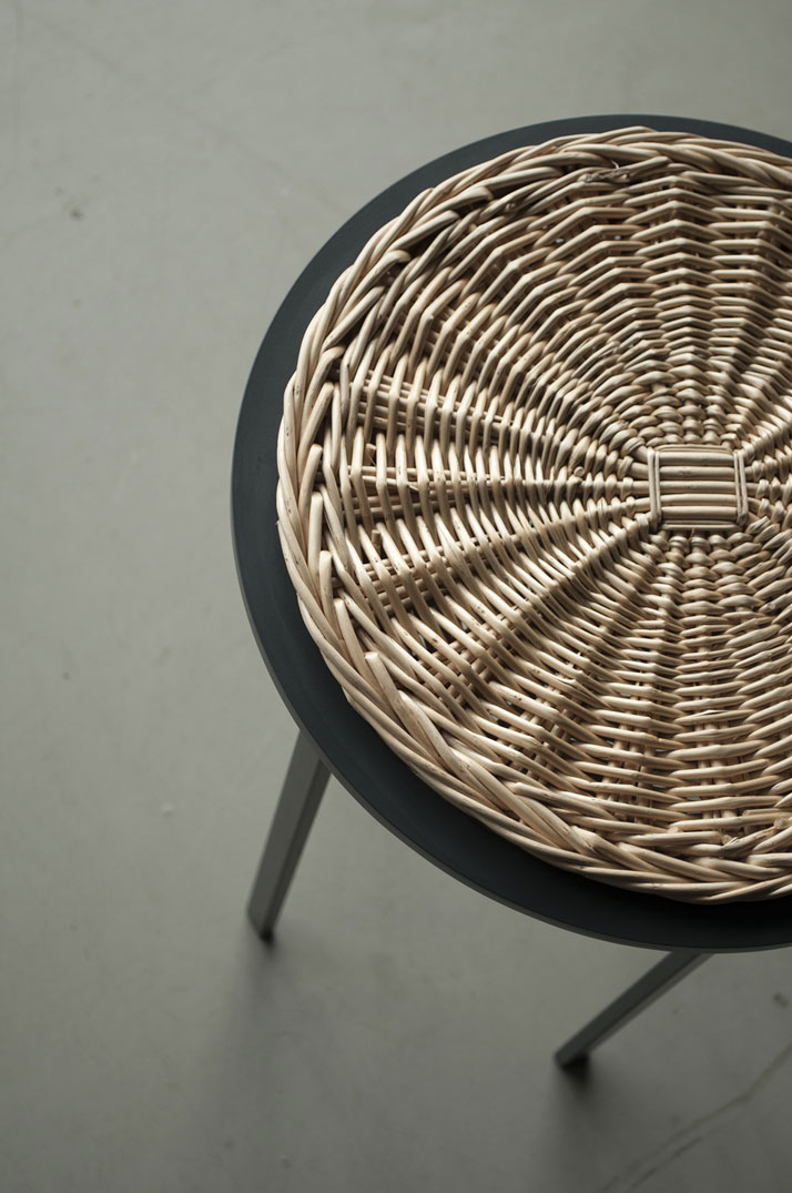 Meet the wicker, stool made from rectangular steel profiles with a woven wicker seat. © Chudy and Grase.AWARDS: Product design of the year 2014 (Latvia) | Best product prototype 2014 (Latvia).