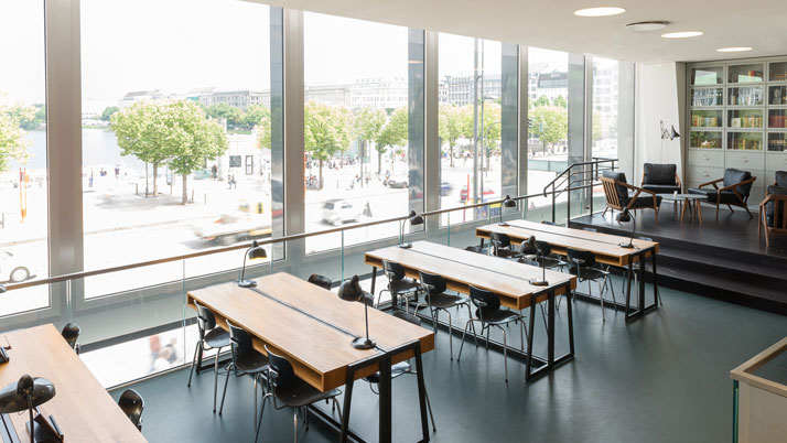 Custom designed classroom-style desks.photo © Christian Köster, Aerogram studio.