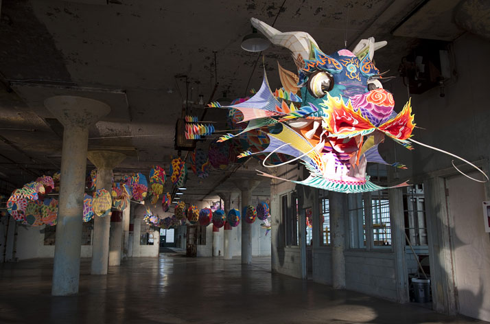 Ai Weiwei, With Wind, 2014 (installation view, New Industries Building, Alcatraz); photo: Jan Stürmann.