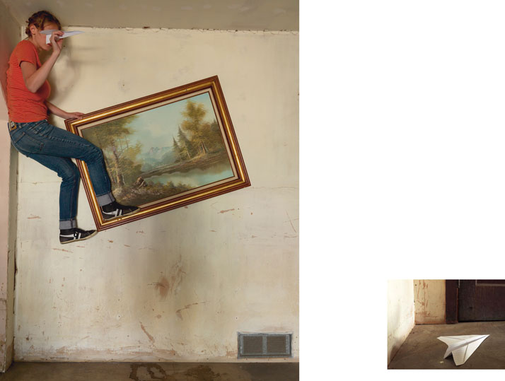 Airplane through Landcsape, 2014; c-print, 25'' x 34'' (Landscape), 10'' x 14'' (Airplane). Courtesy of Lee Materazzi.