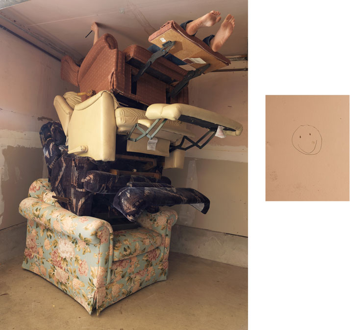 Lazy Girl, 2014; displaced wall & c-print, 46'' x 61'' (Lazy Girl), 14'' x 11'' (Smiley Face). Courtesy of Lee Materazzi.