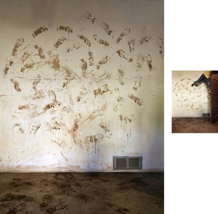 Mud Wall, 2014; displaced wall & c-print, 7' x 7.5' (wall), 18'' x 14'' (print). Courtesy of Lee Materazzi.