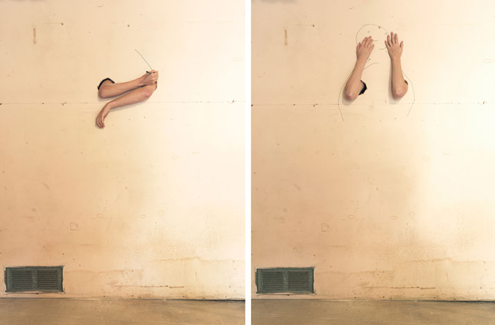Myself, 2014; c-print, diptych 18'' x 25'' each. Courtesy of Lee Materazzi